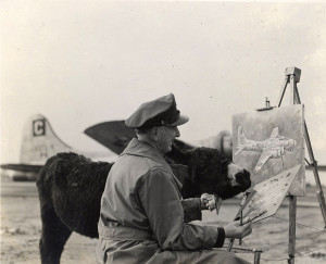 Lady Moe attempts to help an unnamed serviceman paint a B-17