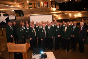 Members of Operation Secret Surprise pose for a photo during their 28th anniversary reunion at the National Mighty Eighth Museum in Savannah, Ga., Jan. 19, 2019. This mission was the longest distance flown for a combat mission at the time, totaling 35 hours, 14,000-mile round-trip from Barksdale AFB, La. (U.S. Air Force photo by Senior Airman Luke Hill)